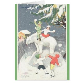 Vintage Dutch Vroolijk Kerstfeest Christmas Card