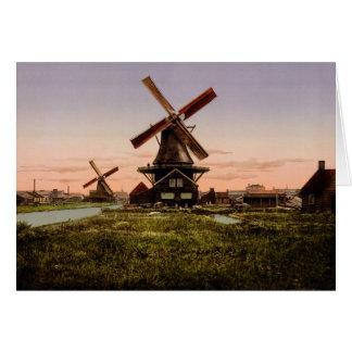 Vintage Dutch Windmills custom greeting card