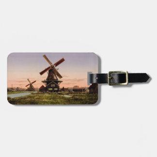 Vintage Dutch Windmills custom luggage tag
