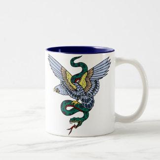 Vintage Eagle and Snake Tattoo Art Two-Tone Mug
