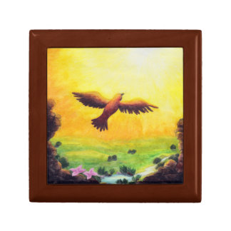 vintage eagle rising into the air small square gift box