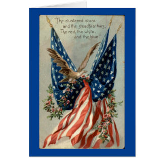 Vintage Eagle With Flag Card