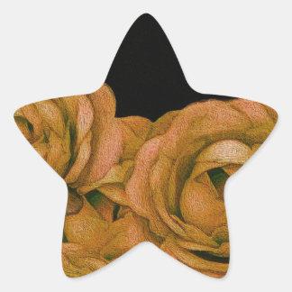 Vintage Earth Tone Roses Grunge Star Sticker