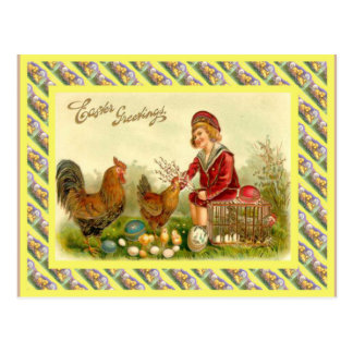 Vintage Easter, 1930s, Hens and eggs Postcard