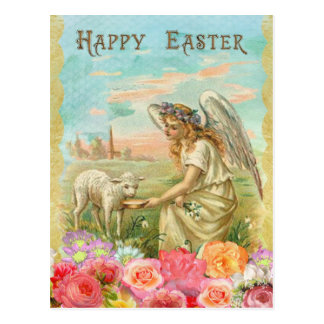 Vintage Easter. Angel and Lamb. Postcard