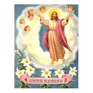 Vintage Easter Blessings Jesus and Angels Postcard