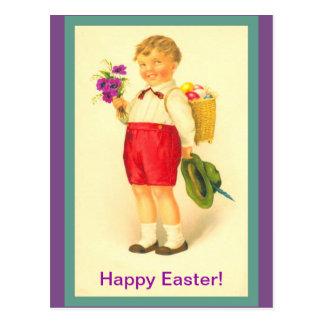 Vintage Easter Boy Cute Postcard, vintage image Postcard