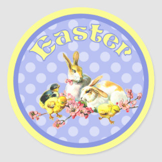 Vintage Easter Bunnies and Baby Chicks Round Sticker
