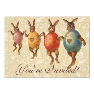 Vintage Easter Bunnies Dancing with Egg Costumes Card
