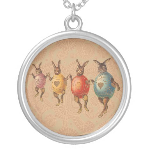 Vintage Easter Bunnies Dancing with Egg Costumes Jewelry