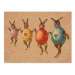 Vintage Easter Bunnies Dancing with Egg Costumes Postcards