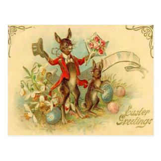 Vintage Easter Bunnies Easter Card Postcard