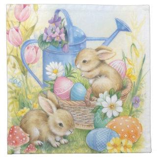 Vintage easter bunnies napkin