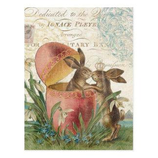 Vintage Easter bunnies notecard Postcard