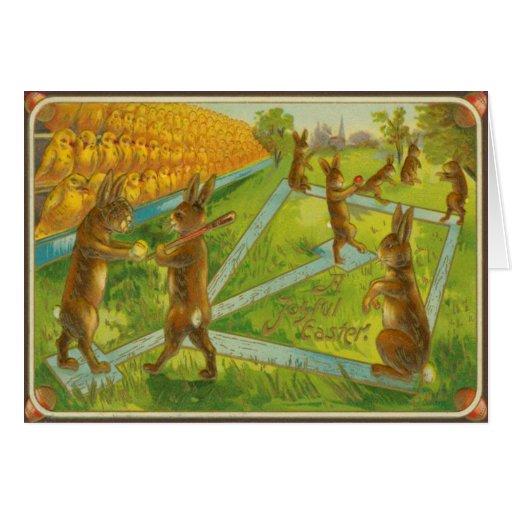 Vintage Easter Bunnies Playing Baseball Chicks Greeting Card