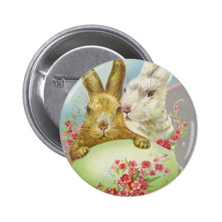 Vintage Easter Bunnies With Easter Egg Easter Card 6 Cm Round Badge