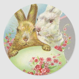 Vintage Easter Bunnies With Easter Egg Easter Card Round Sticker