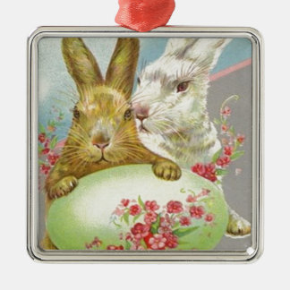Vintage Easter Bunnies With Easter Egg Easter Card Silver-Colored Square Decoration