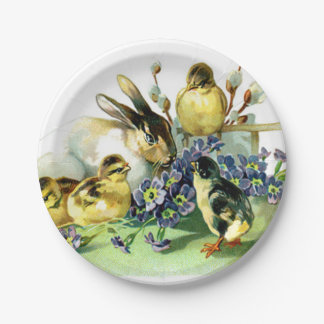 Vintage Easter Bunny and Chick 7 Inch Paper Plate