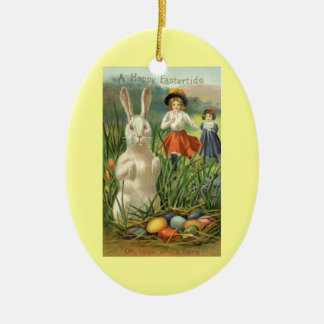 Vintage Easter Bunny and Eggs, Happy Eastertide Christmas Ornament