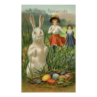Vintage Easter Bunny and Eggs; Happy Eastertide Print