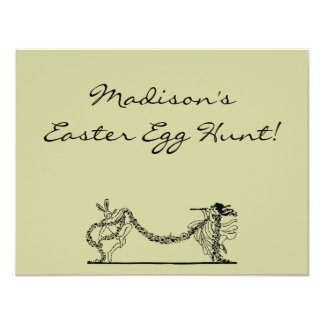 Vintage Easter Bunny And Spring Egg Hunt Invite