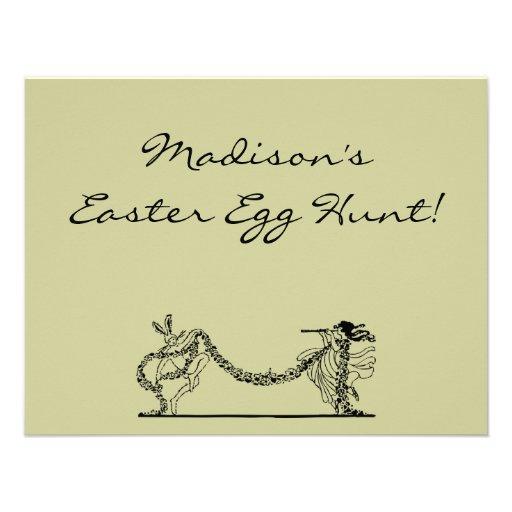 Vintage Easter Bunny And Spring Egg Hunt Invite