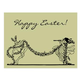 Vintage Easter Bunny And Spring Postcard
