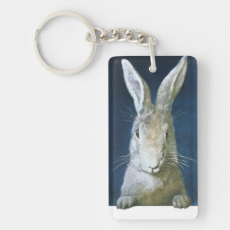 Vintage Easter Bunny, Cute Furry White Rabbit Key Ring