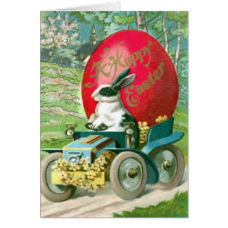 Vintage Easter Bunny Driving Car Easter Egg Card
