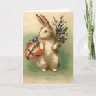 Vintage Easter Bunny Easter Egg Flowers Easter Christmas Card