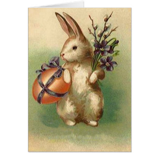 Vintage Easter Bunny Easter Egg Flowers Easter Greeting Card