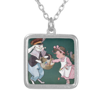Vintage Easter Bunny Easter Eggs Art Personalized Necklace