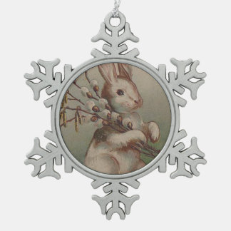 Vintage Easter Bunny Rabbit Pewter Snowflake Decoration