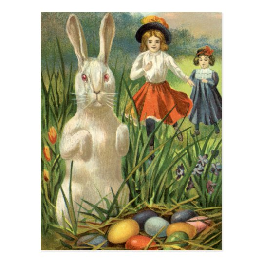 Vintage Easter Bunny with Eggs and Children Postcard