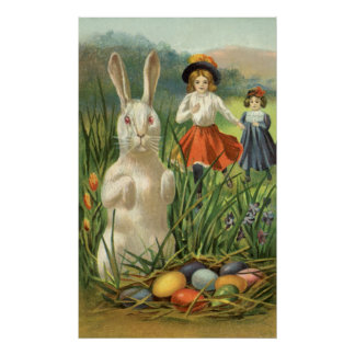 Vintage Easter Bunny with Eggs and Children Print