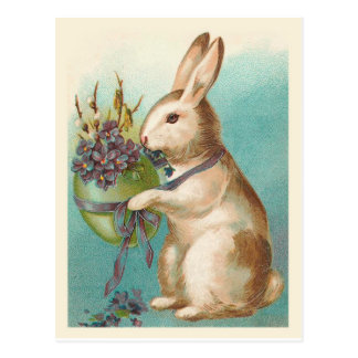 Vintage Easter Bunny With Green Egg Postcard