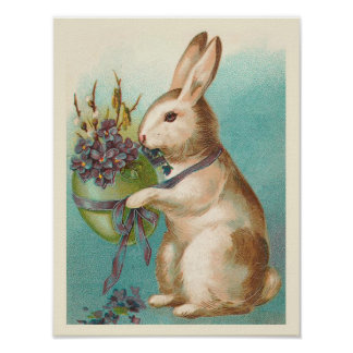 Vintage Easter Bunny With Green Egg Poster