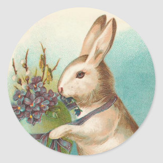 Vintage Easter Bunny With Green Egg Round Sticker