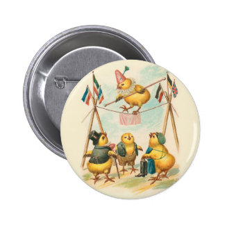 Vintage Easter Card With Circus Chicks 6 Cm Round Badge