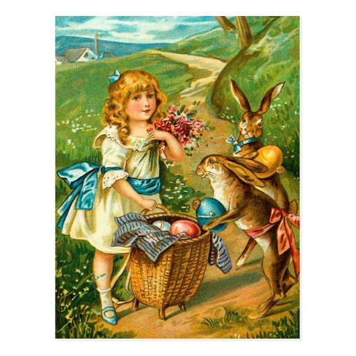 Vintage Easter Card With Girl And Bunnies Post Card