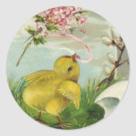 Vintage Easter Chick with Flowers Round Stickers
