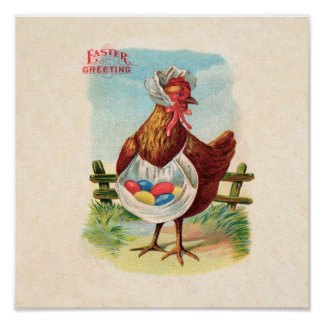 Vintage Easter Chicken and Easter Eggs Poster