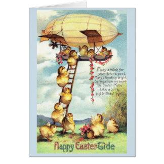 Vintage Easter Chicks Board a Blimp, Card