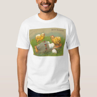Vintage Easter Chicks Eggs Shoe Easter Card Tshirt