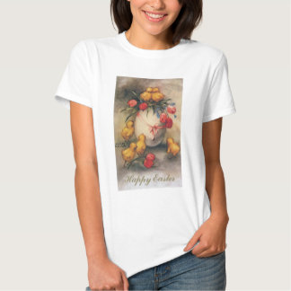 Vintage Easter Chicks with Red Tulip Flowers Shirts