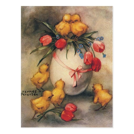 Vintage Easter Chicks with Red Tulips in an Egg Post Card