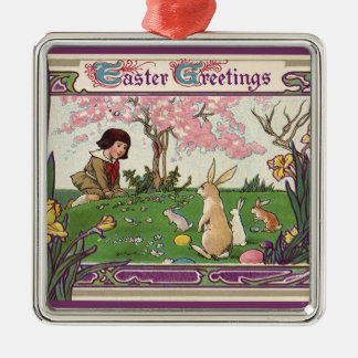 Vintage Easter, Child on an Egg Hunt with Animals Christmas Ornaments