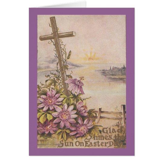 Vintage Easter Cross and Purple Flowers Card
