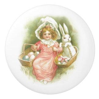 Vintage Easter Egg Gathering Ceramic Knob